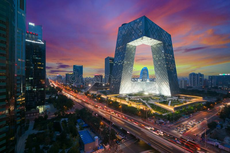 Beijing ,China - October 22 ,2017 : China`s Beijing City, a famo. Us landmark building, China CCTV CCTV 234 meters tall skyscrapers is very spectacular stock image