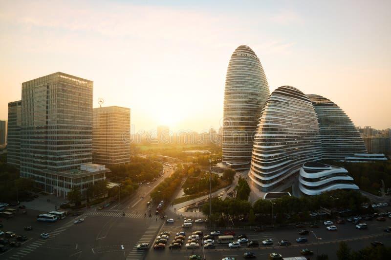 Beijing,China - October 23, 2017 : Beijing cityscape and famous. Landmark building in WangJing Soho area during sunset in Beijing, China stock photo