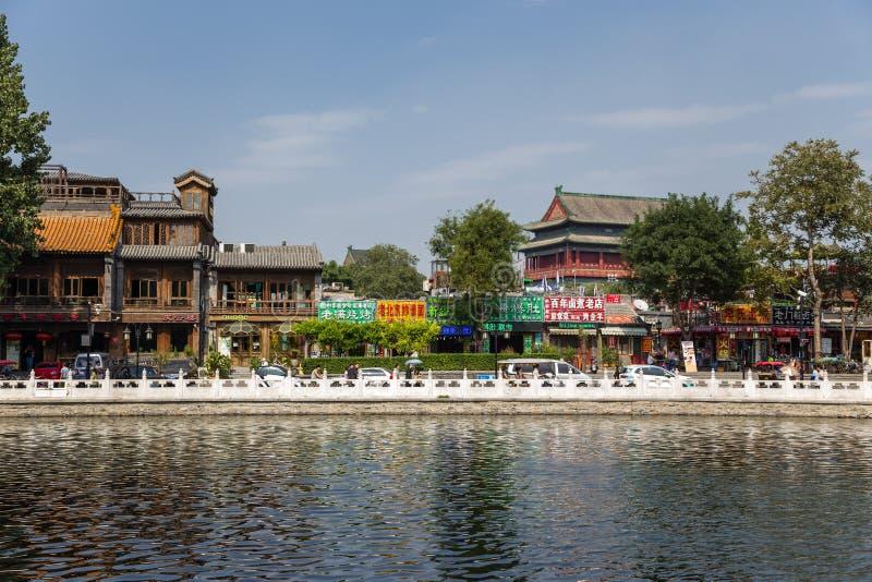 Beijing, China. Restaurants on the lake at Shichahai. Beijing, China. Beijing, China. Restaurants on the Qianhai lake at Shichahai zone stock photography