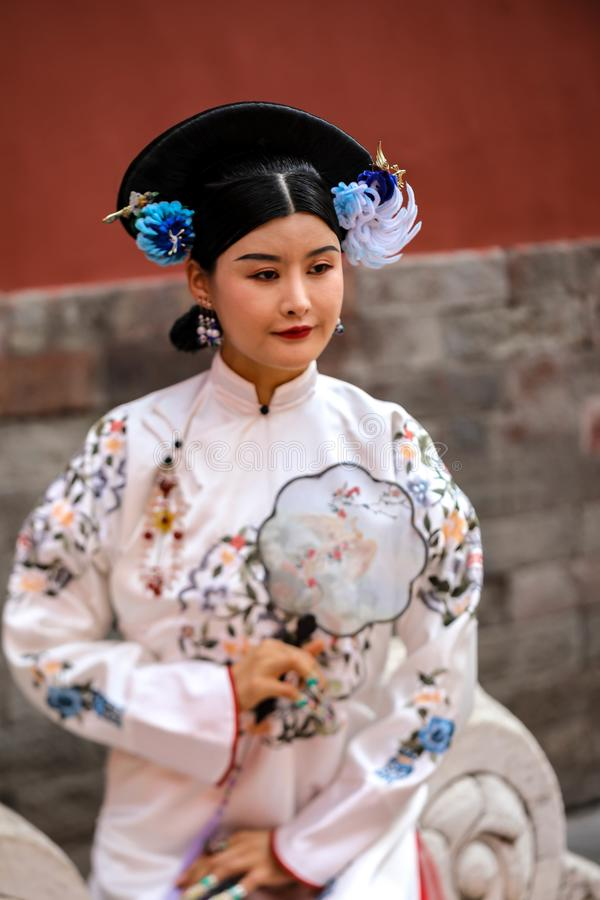 Chinese girl dressed as Chinese Imperial Princess royalty free stock images