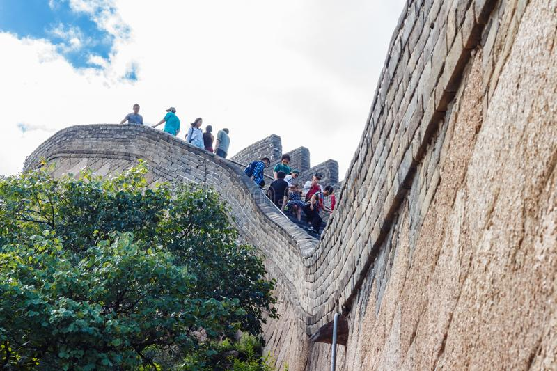 People on Great Wall of China royalty free stock images