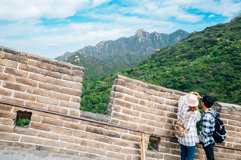 The Great Wall and tourist people in Beijing, China royalty free stock image