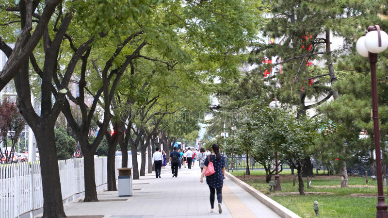 BEIJING, CHINA - September 6, 2016: Walkway between 3rd Ring Road to 2nd Ring Road. stock photos