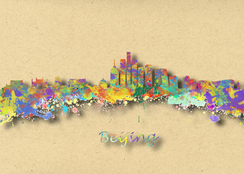 Beijing China Skyline. Watercolor art print of the skyline of Beijing China Beautiful Wall Art / Home Decor Canvas Prints Image. great presentation in both royalty free stock images