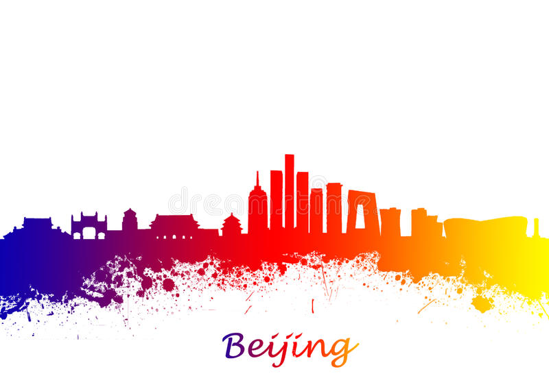 Beijing China Skyline. Watercolor art print of the skyline of Beijing China Beautiful Wall Art / Home Decor Canvas Prints Image. great presentation in both stock photography