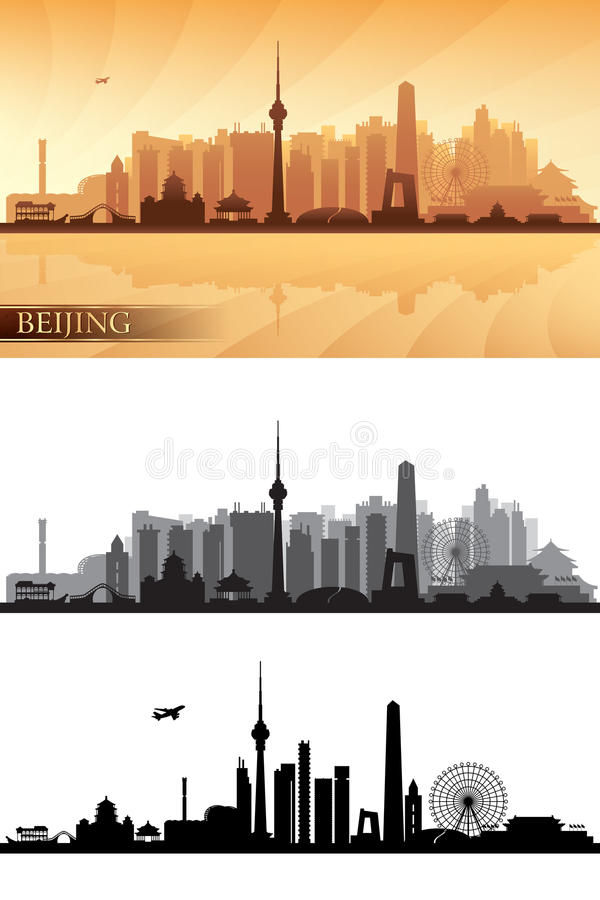 Beijing city skyline detailed silhouettes Set vector illustration