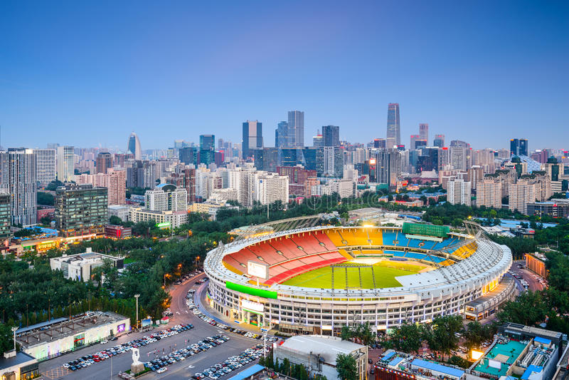 Beijing Cityscape. Beijing, China cityscape over the stadium towards the CBD stock photos