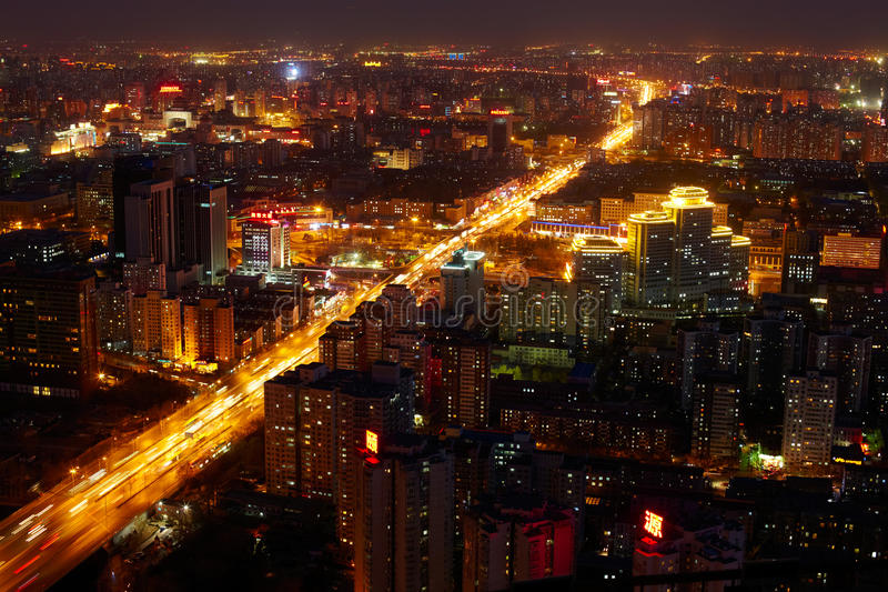 Beijing cityscape at dusk. View from TV tower royalty free stock image
