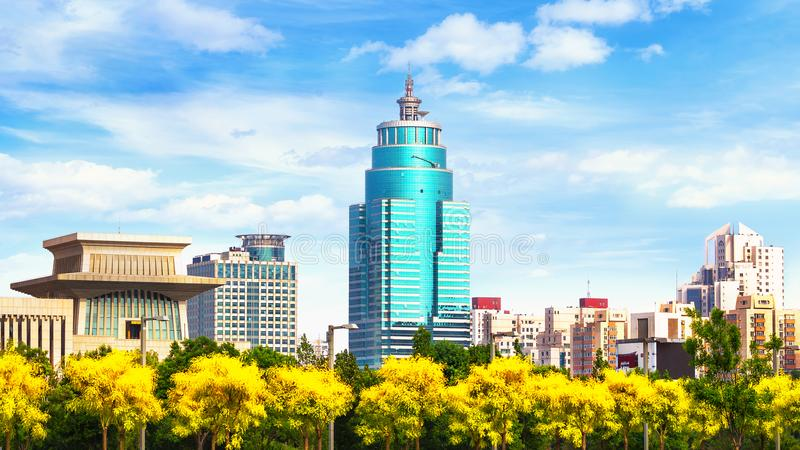 Beijing cityscape of modern buildings and park. View from the green park side royalty free stock photos