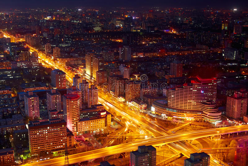 beijing cityscapeskymning royaltyfria bilder