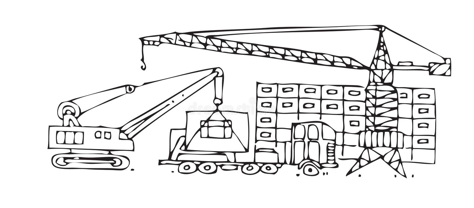 Beijing construction site. Vector image of a construction work site vector illustration