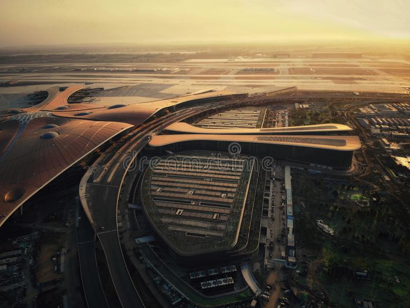 Beijing Daxing International Airport IATA:PKX,ICAO:ZBAD 130 million person-times China`s largest airport. Beijing Daxing International Airport 1 royalty free stock photo
