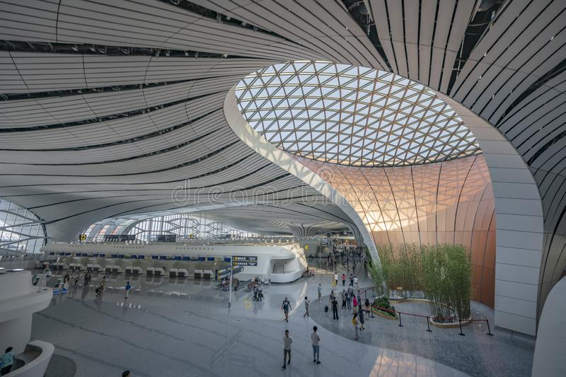 Beijing Daxing International Airport IATA:PKX,ICAO:ZBAD 130 million person-times China`s largest airport. Beijing Daxing International Airport 1 royalty free stock photos