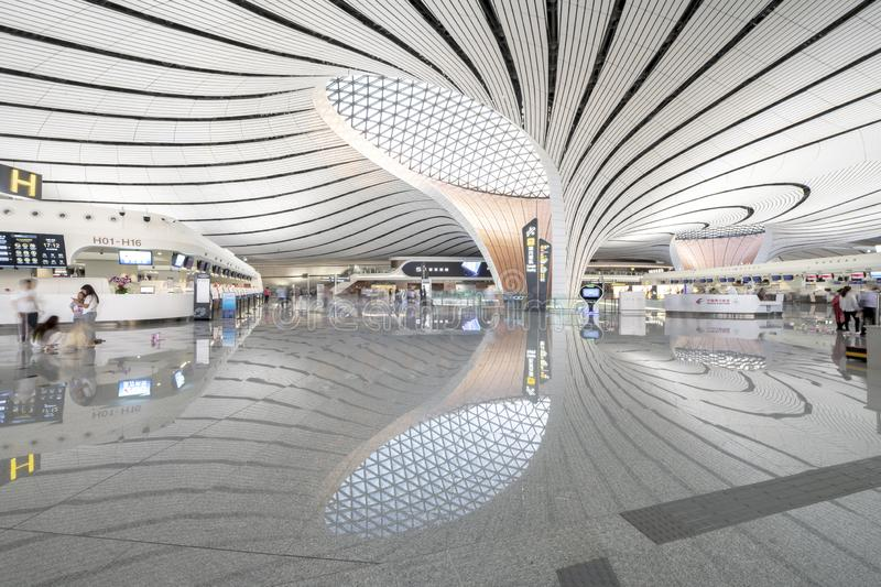 Beijing Daxing International Airport IATA:PKX,ICAO:ZBAD 130 million person-times China`s largest airport stock image