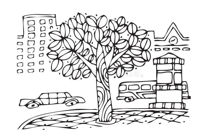 Beijing development. Vector hand draw image of trees in beijing city stock illustration
