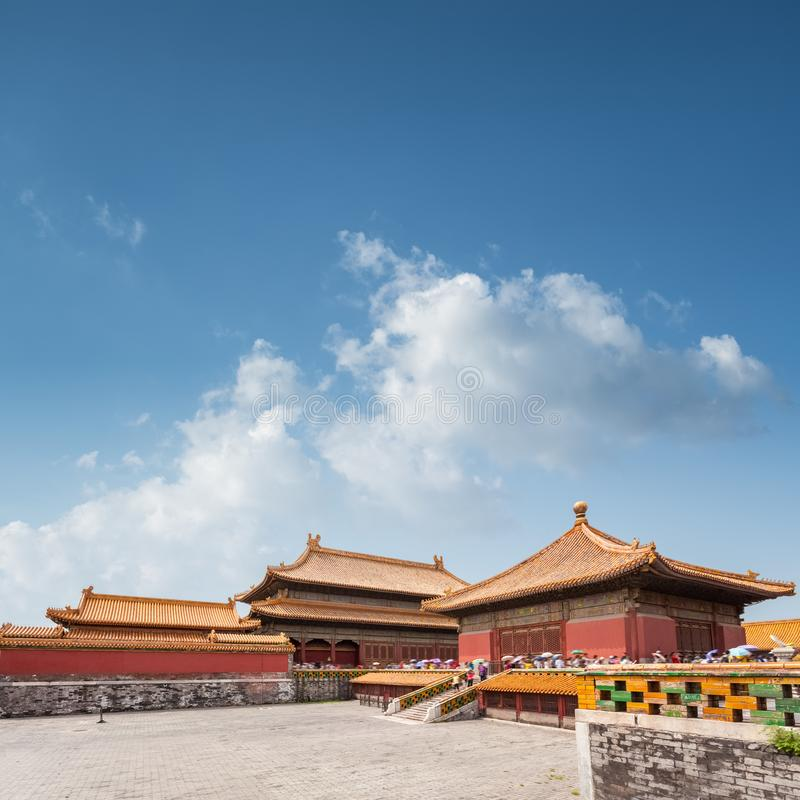 Beijing forbidden city against blue sky. The former imperial palaces, China royalty free stock photography