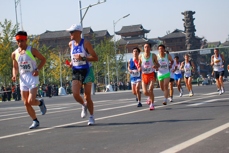 beijing internationalmaraton 2008 royaltyfri bild