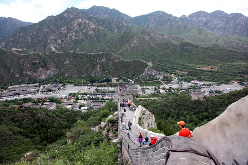 BEIJING - JUNE 12: Visitors walks on the Great Wall of China on stock photo