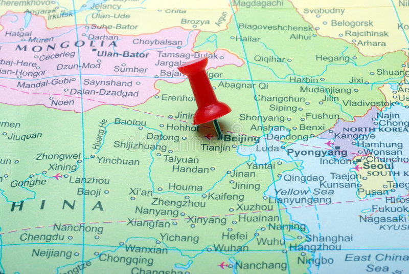 Beijing in map. Macro shot of beijing map with push pin stock photography