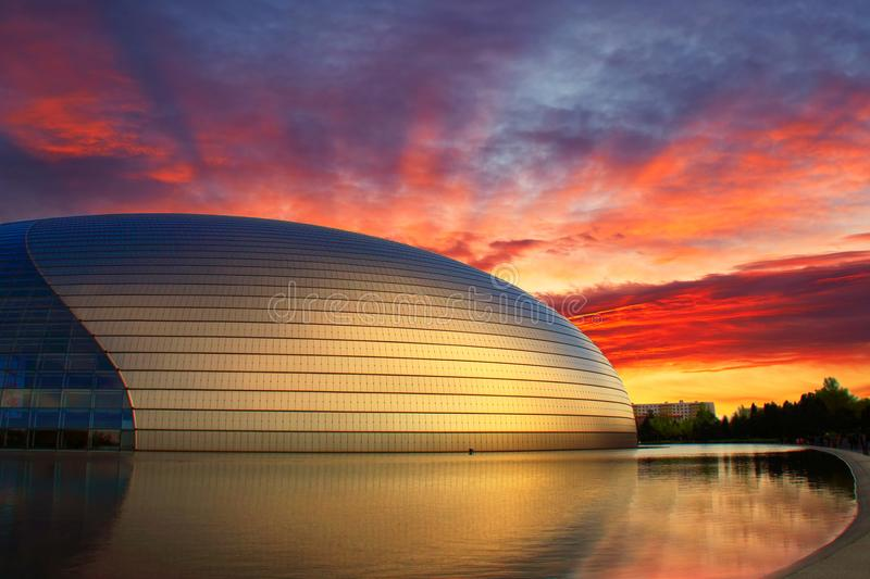 China NCPA in sunset, Beijing royalty free stock photos
