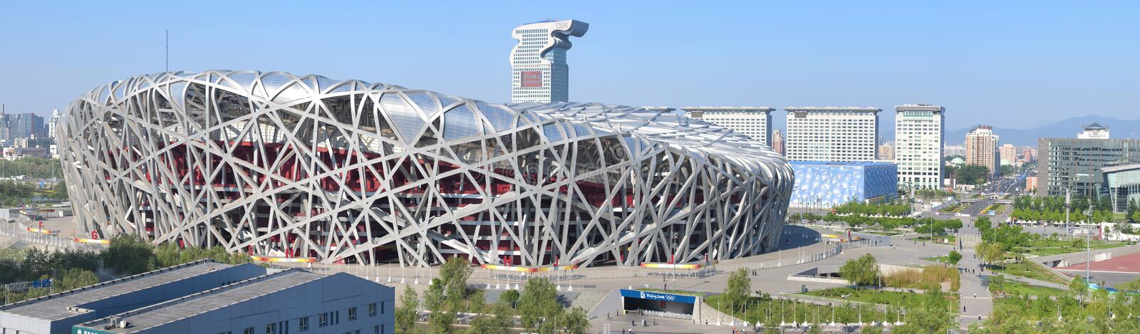 Beijing National Stadium Bird Nest. China National Stadium in Beijing.It has been used in the Olympic Games.It is built by the steel,it was called Bird Nest royalty free stock photography