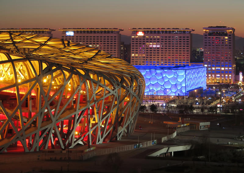 Beijing National Stadium Bird Nest and Water cube. China National Stadium in Beijing.It has been used in the Olympic Games.It is built by the steel,it was called stock photos