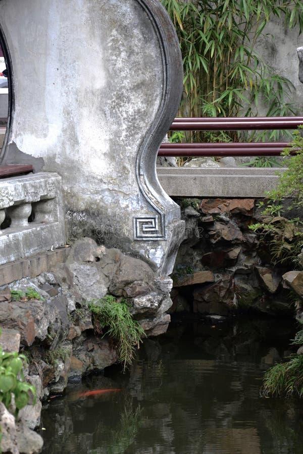 beijing ogrodowy pa?ac lato Footbridge, beton, kamienia parapet nad rzeka z goldfish i balustrada/lub obrazy stock