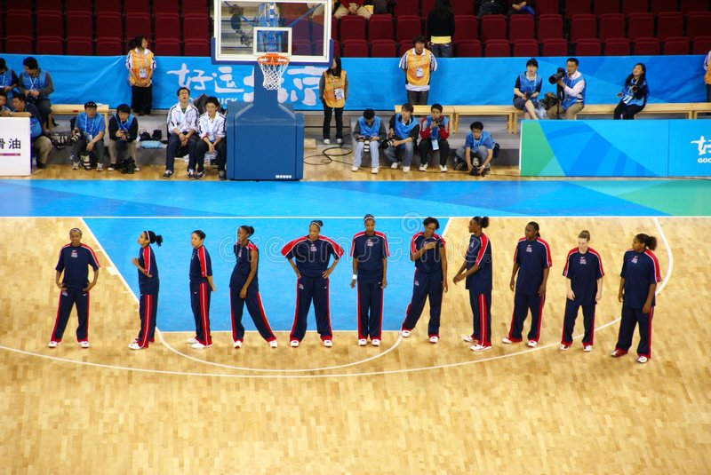 Beijing Olympic Basket ball Arena put into service. World No.1, the United States, and No.2, Australia, are to lead a herd of world elites to compete in the Good royalty free stock photo