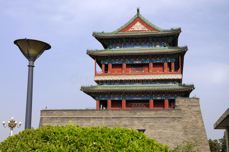 Beijing Qianmen gate tower. Ancient architecture in the modern city is Beijing cityscape.QianmenFront is Beijing's most famous gate tower stock photography