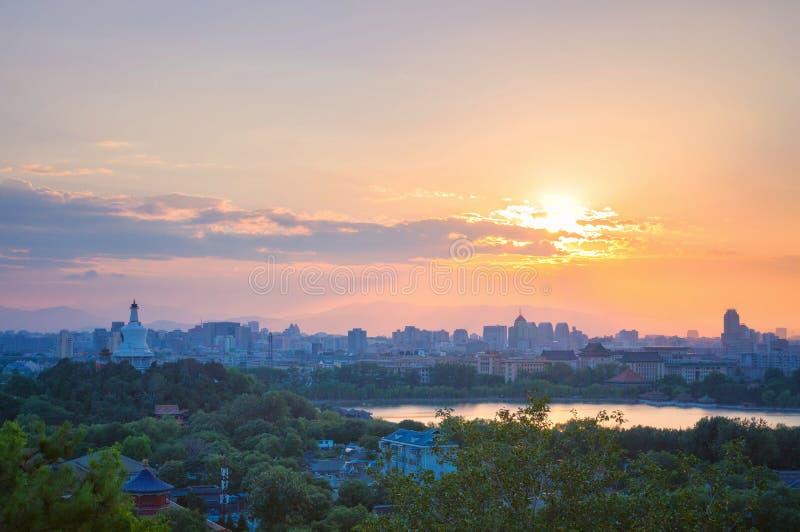 Beijing skyline, Beihai Park stock photo