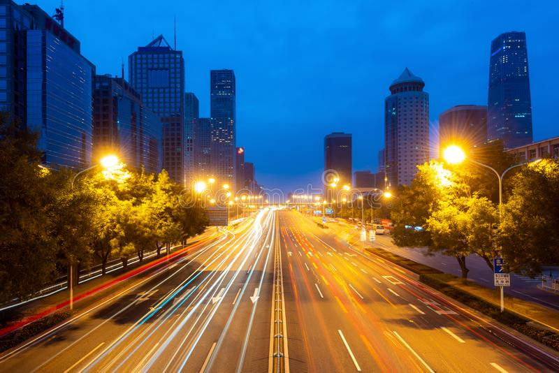 Beijing skyline at Chaoyang central business district in Beijing, China.  stock photo