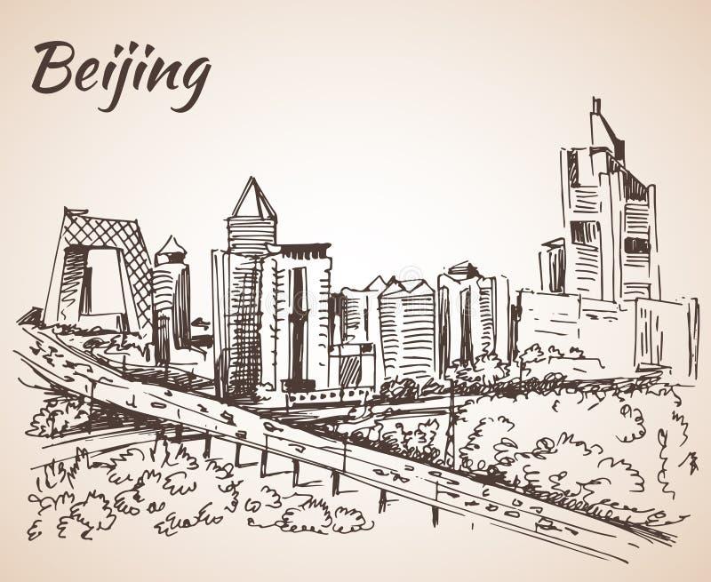 Beijing skyscraper. Sketch. On white background stock illustration