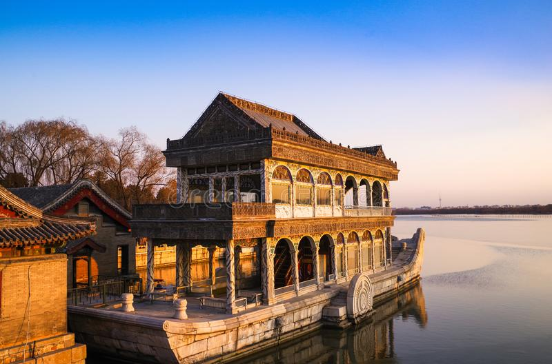 Beijing the Summer Palace stone boat royalty free stock image