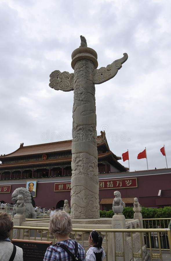 Beijing, 5th may: Dragon and Lion Stone Column in front of the Forbidden City Main Gate in Beijing royalty free stock image