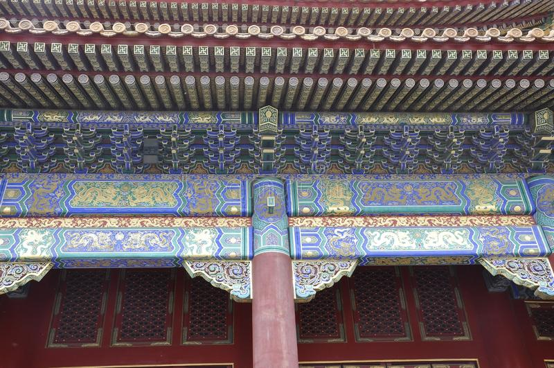 Beijing, 5th may: Gate of Supreme Harmony details from the Forbidden City in Beijing. Roof details of the Gate of the supreme Harmony from Forbidden City Chinese royalty free stock photos