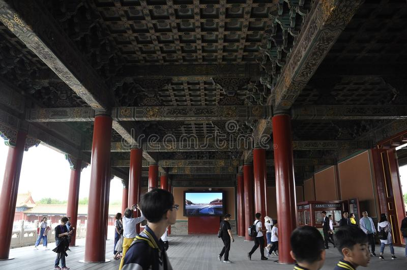 Beijing, 5th may: Gate of Supreme Harmony entrance from the Forbidden City in Beijing. People enter to the Gate of the Supreme Harmony in Forbidden City the royalty free stock photo