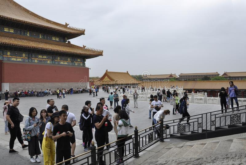 Beijing, 5th may: Tourists visiting the Imperial Palace from the Forbidden City from Beijing. Tourists in the Imperial Palace courtyard from the Forbidden City stock photos