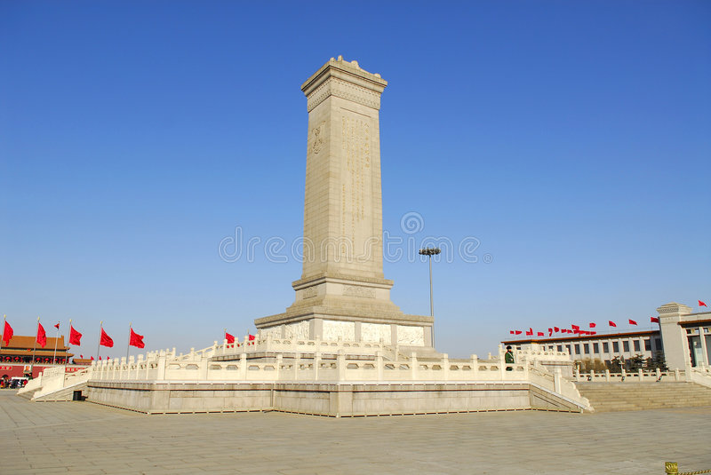 Beijing Tiananmen Square Monument to the People's stock photography