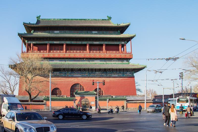 Beijing. The traditional architecture with the cars and the tourists royalty free stock photography