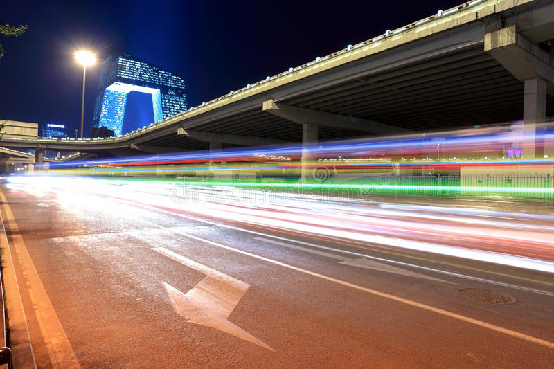 Beijing traffic at night. Light trails on the modern city street at night in beijing,China royalty free stock images