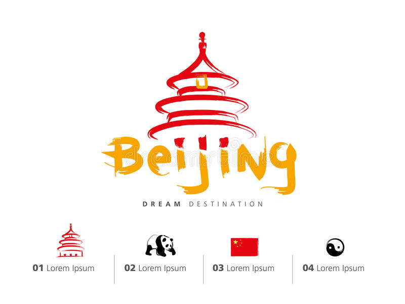 Beijing travel set, China vector illustration