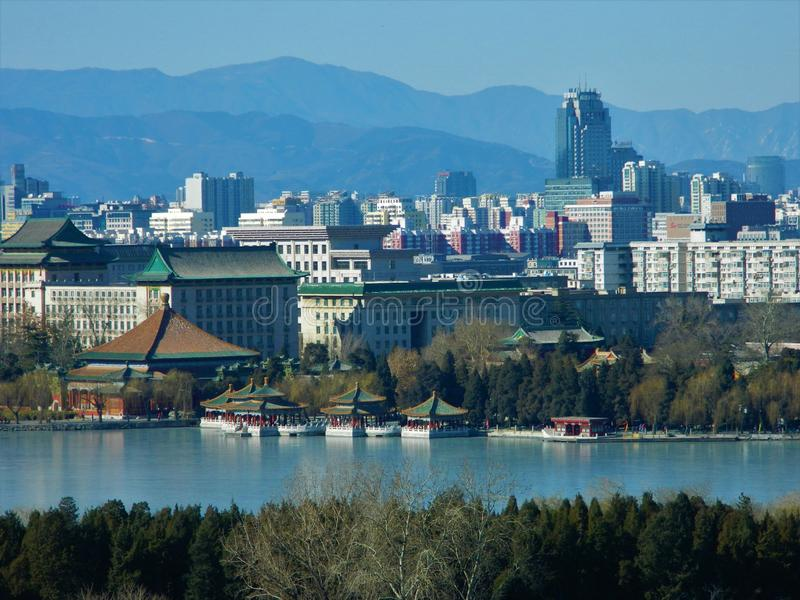 Beijing View from Jingshan Park, China royalty free stock photography