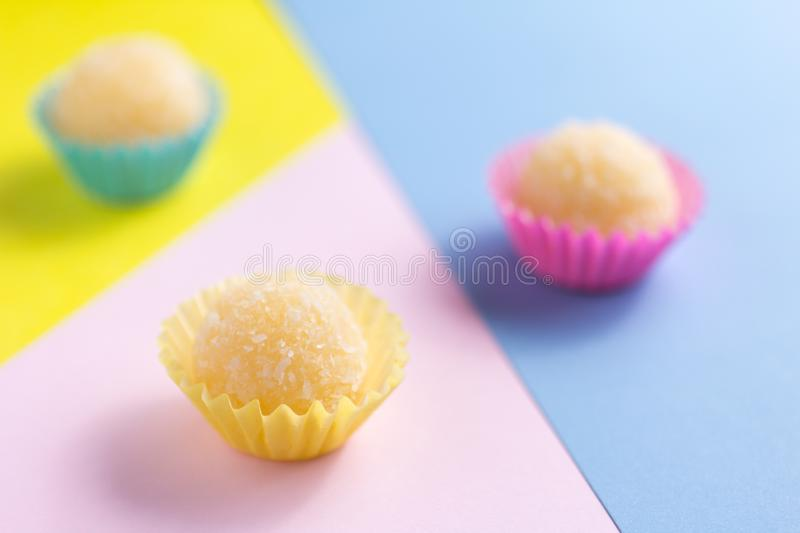 Beijinho is a candy from Brazil: condensed milk and coconut. Chi stock photos