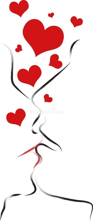 Beijo abstrato ilustração royalty free
