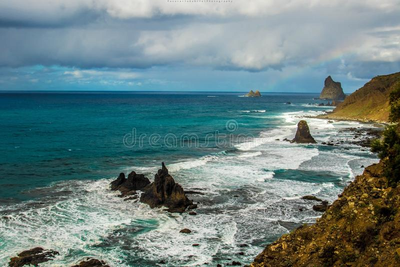 Beijo beach. Compozition on beijo beach north- side of Tenerife island royalty free stock photography