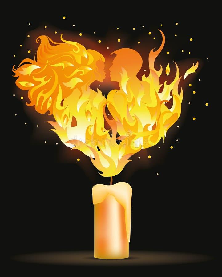 Beijo de dois amantes do incêndio ilustração do vetor