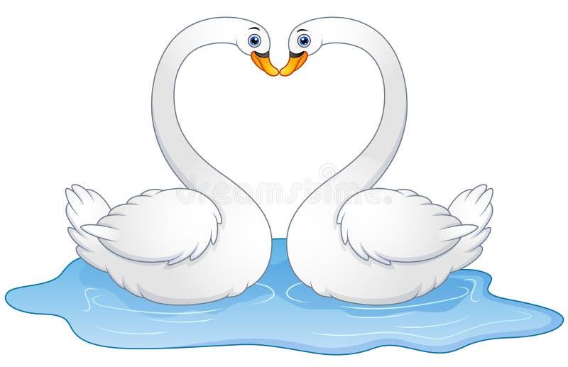 Beijo do amante das cisnes dos pares dos desenhos animados ilustração do vetor