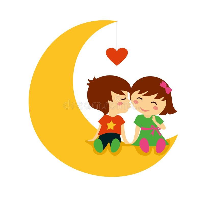 Beijo do dia de são valentim na lua ilustração do vetor