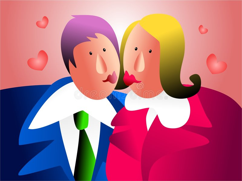 Beijo do escritório ilustração stock