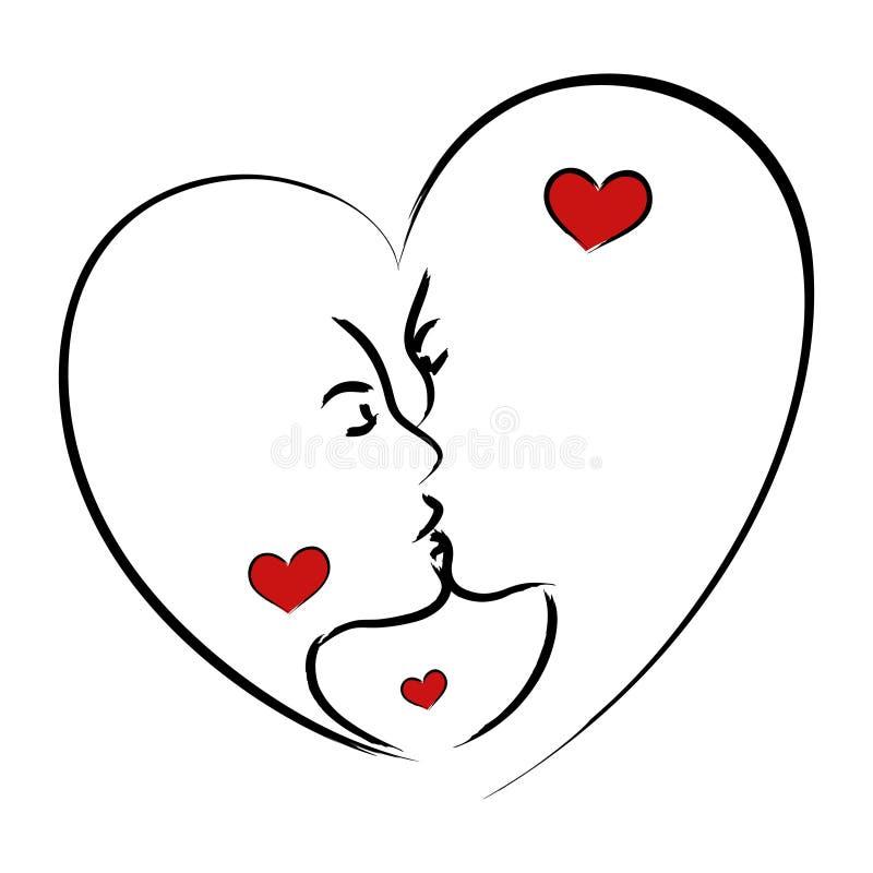 Beijo do homem e da mulher ilustração do vetor